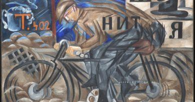 Natal'ja Gončarova, Ciclista, olio su tela, 1913