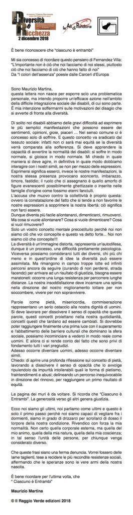 il manifesto di Maurizio Martina, edizioni Il Raggio Verde, 2018