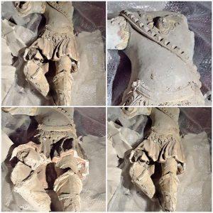 Anonimo maestro, Frammenti di statua raffigurante San Michele Arcangelo, incerta datazione, ritrovamento avvenuto nella chiesa del Purgatorio di Lagonegro (foto di Milena Falabella)